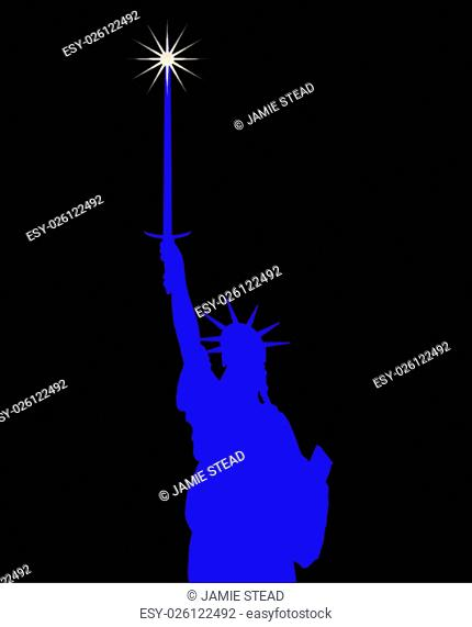 The Statue of Liberty with large broadsword