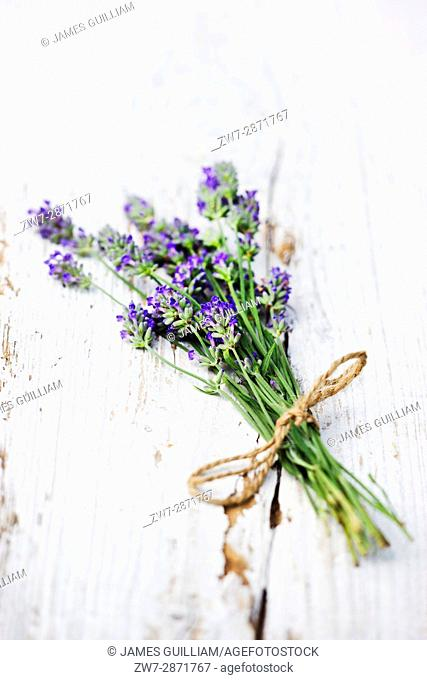Tied bunch of lavender flowers on rustic wooden table