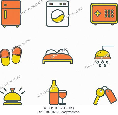 Hotel services and luxury resort accommodation. Line icons set, flat design
