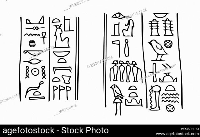 Ancient Egyptian hieroglyphs with names of the goddess of fertility Isis (left) and her husband the god of The Underworld Osiris (right)