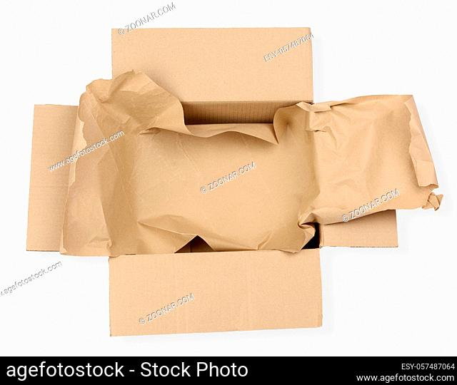 open empty rectangular brown cardboard box for transportation and packaging of goods isolated on white background, top view