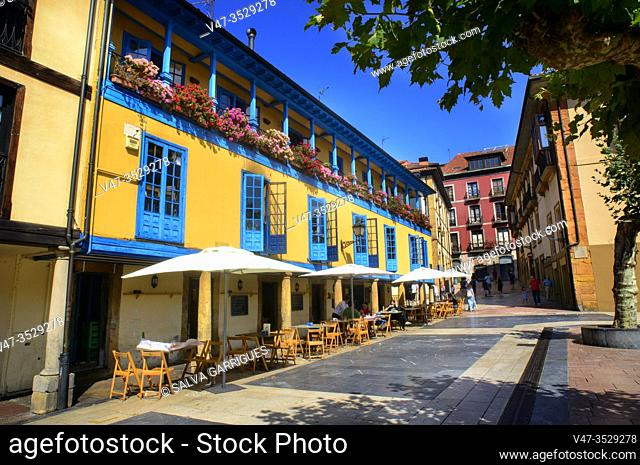 Typical facade of the Asturian old buildings full of color, Plaza del Fontán, Oviedo, Asturias, Spain