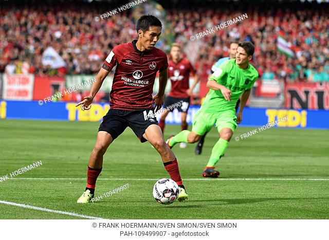 Yuya KUBO (1.FC Nuremberg), Action, Single Action, Frame, Cut Out, Full Body Shot, Whole Figure. Soccer 1. Bundesliga, 4.matchday, matchday04, 1