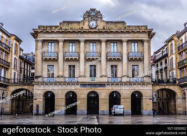 Buildings on Constitucion Plaza in San Sebastian coastal city located in the Basque Autonomous Community, Spain