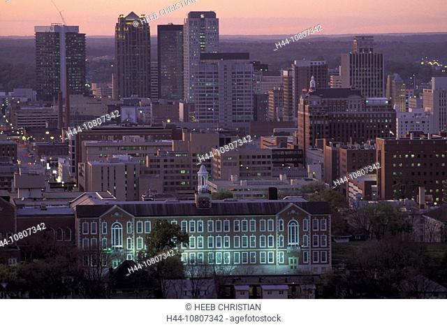 Alabama, America, Color, Colour, Downtown, Birmingham, United States, North America, USA, America, skyline, night, t