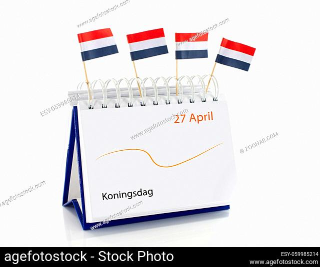 Calendar from the netherlands with kings day on 27 april