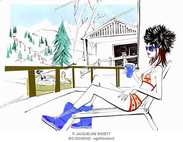 Ski resort with couple in hot tub and glamorous woman relaxing in sun lounger wearing bikini and fur hat