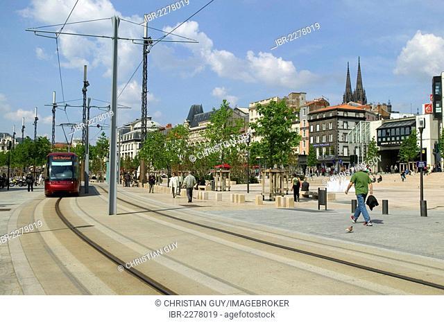 Place de Jaude square, Clermont-Ferrand, capital of Auvergne, Puy de Dome, France, Europe