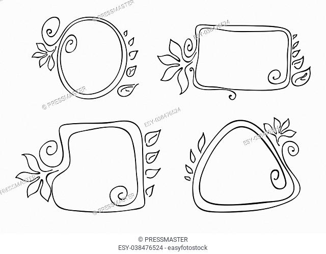 Vector illustration of four monochrome frames with swirls