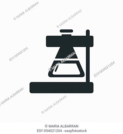 Conical flask icon. Erlenmeyer laboratory instrument. Isolated vector illustration