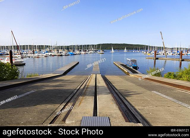 Slipway, sailing boats in sailing harbour, marina, Großer Brombachsee, Ramsberg am Brombachsee, district of Markt Pleinfeld, Franconian Lake District