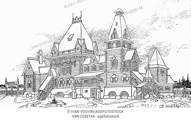 Vintage drawing of fantasy ancient house in Russian style, illustration from book dated 1911