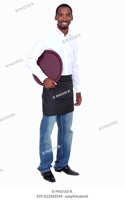 Happy waiter isolated on white background