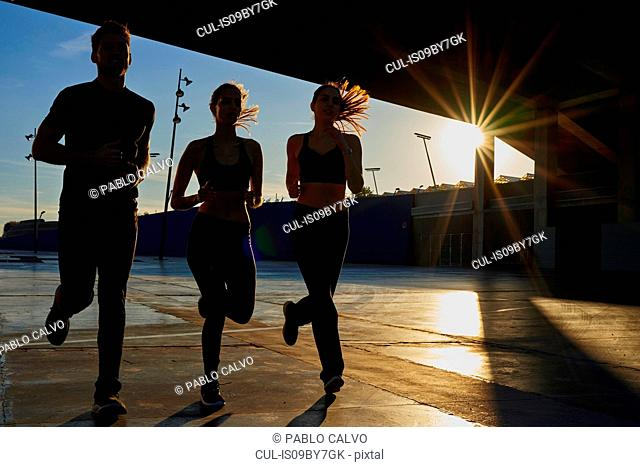 Friends jogging in sports stadium at sunset