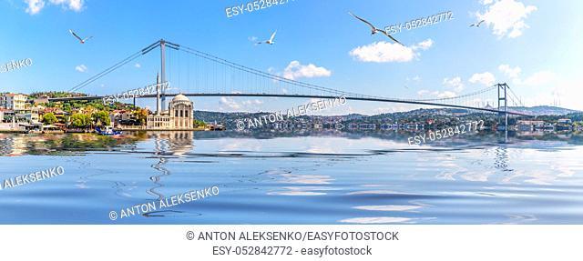 Ortakoy Mosque and Bosphorus Bridge, Istanbul panorama, Turkey