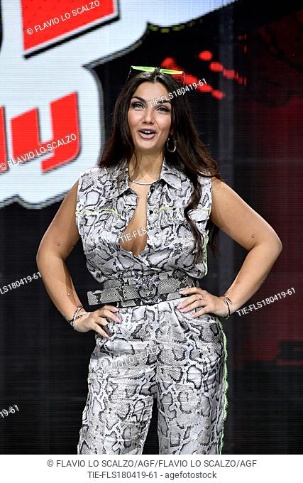 Elettra Lamborghini during the photocall of tv show The voice of Italy, Milan, ITALY-18-04-2019