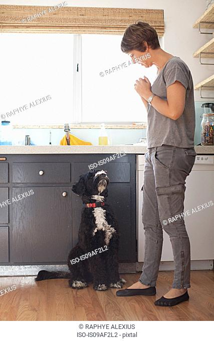 Mature woman and her pet dog in kitchen