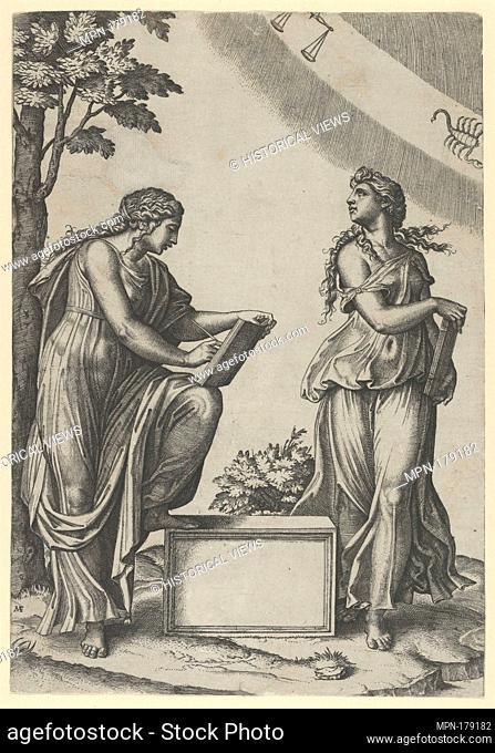 Two women of the zodiac standing beneath the signs of Libra and Scorpio. Artist: Marcantonio Raimondi (Italian, Argini (?) ca
