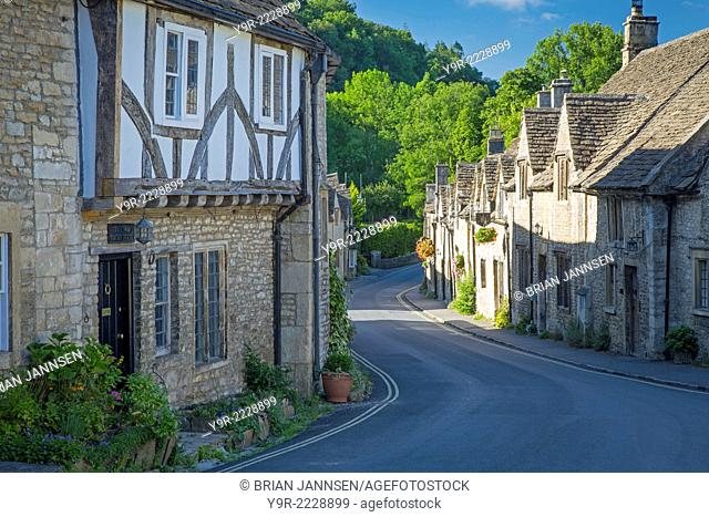 Early Morning in Castle Combe, the Cotswolds, Wiltshire, England