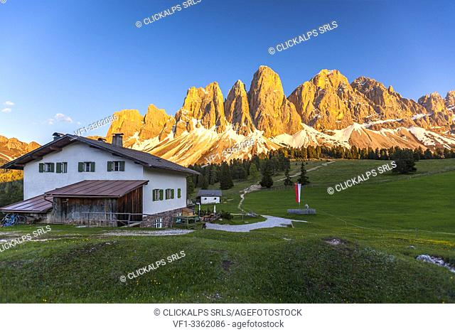 Enrosadira over the Odle peaks from Glatschalm refuge, Dolomites, Funes, Bolzano province, South Tyrol, Italy