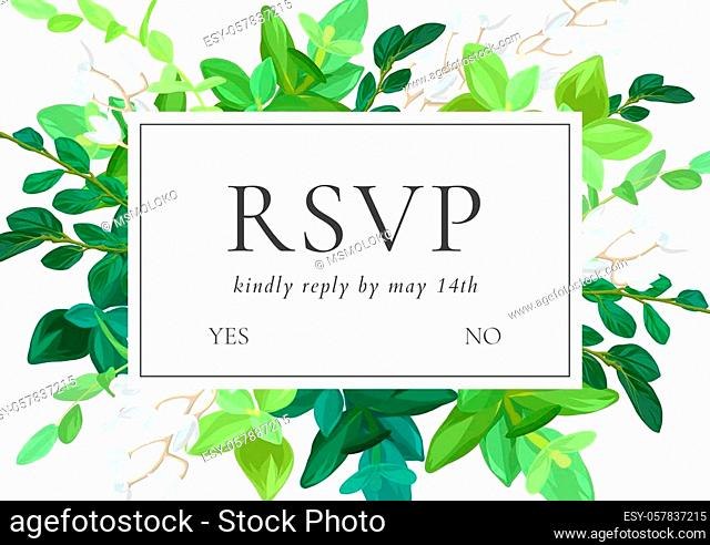 Floral wedding invitation or save the date card with green leaves, succulents, eucalyptus and white may flowers. Vector illustration