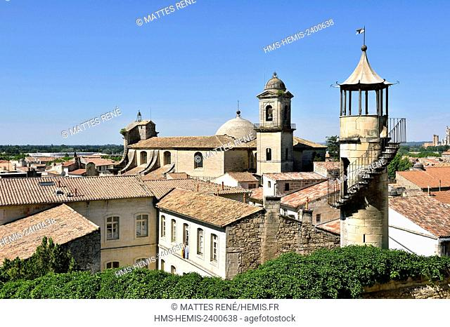 France, Gard, Beaucaire, chinoiserie of the Clausonnette Mansion house and Notre Dame des Pommiers collegiate church