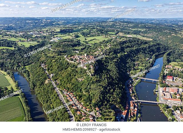 France, Lot, Capdenac, labelled Les Plus Beaux Villages de France (The Most beautiful Villages of France), the village over the Lot river (aerial view)