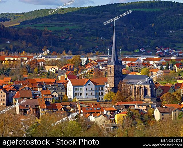 Downtown with Stadtkirche St. Margarethen in Kahla, Thuringia, Germany