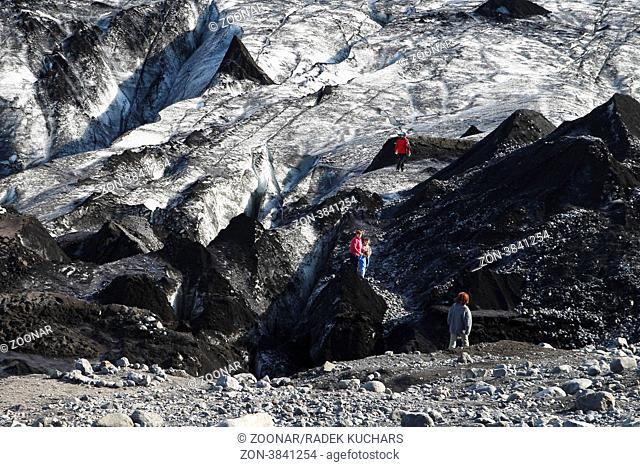 Sólheimajökull - one of the outlet glaciers glacier tongues of the Mýrdalsjökull ice cap, which is the fourth largest glacier in Iceland covering the area of...