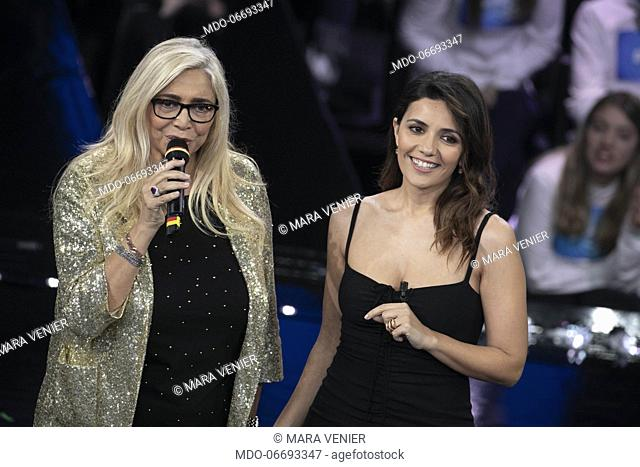 Italian tv host Mara Venier and italian actress and singer Serena Rossi during the episode of Domenica In dedicated to 69th Sanremo Music Festival