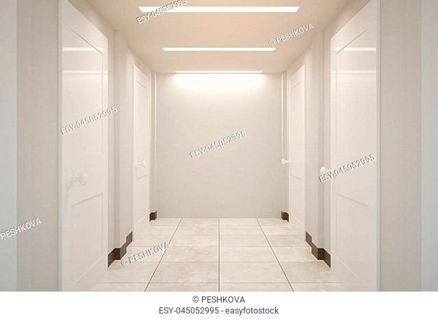 Front view of corridor interior with blank wall. Mock up, 3D Rendering