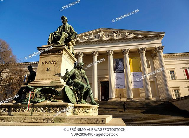 Monument to Poet Janos Arany and National Museum. Budapest Hungary, Southeast Europe