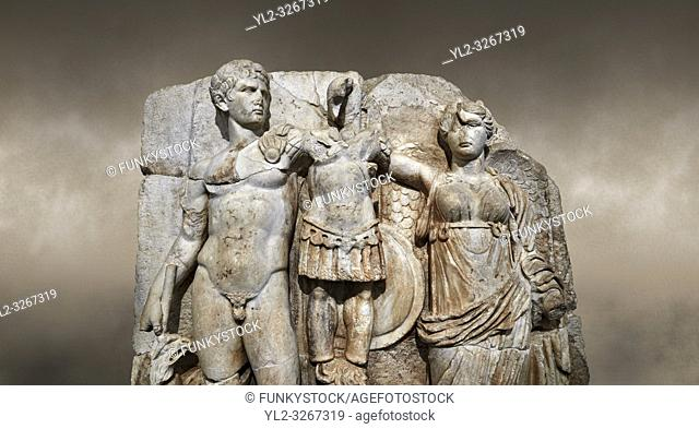 Close up of Roman Sebasteion relief sculpture of emperor Augustus and Goddess Victory, Aphrodisias Museum, Aphrodisias, Turkey