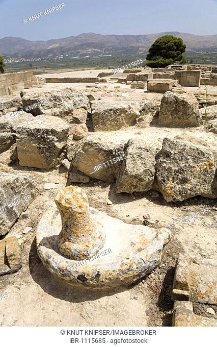 A section of the excavation site of the Minoan palaces of Festos, island of Crete, Greece, Europe