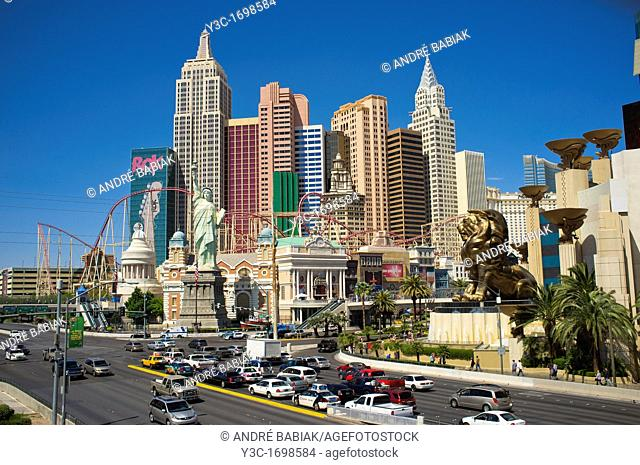The Strip - Las Vegas Boulevard with New York New York Hotel in Background