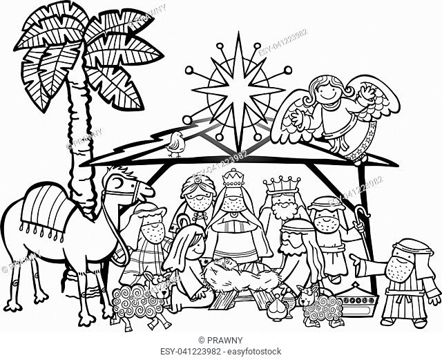 Hand drawn cartoon doodle depicting the Christmas nativity bible story in black and white for colouring projects