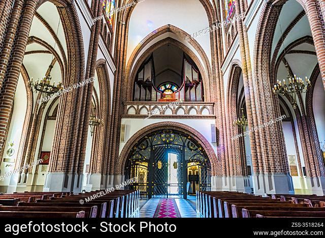 Main nave and pipe organ. St. Florian's Cathedral, or Cathedral of St. Michael the Archangel and St. Florian the Martyr. Warsaw, Poland, Europe