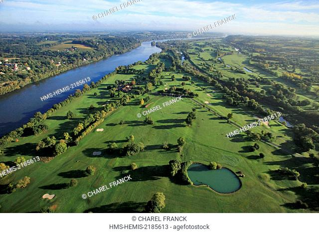 France, Maine et Loire, On the banks of the Loire, the golf course of the golden island in La Varenne (aerial view)