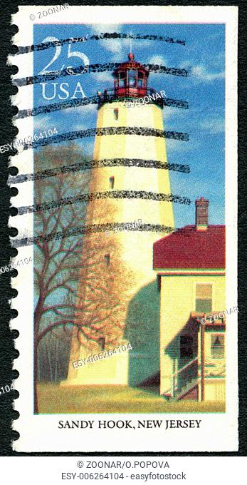 USA - 1990: shows Sandy Hook, New Jersey, series Lighthouses