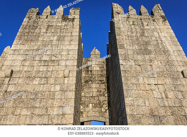 Famous 10th century castle in historical part of Guimaraes city in Minho Province of northern Portugal