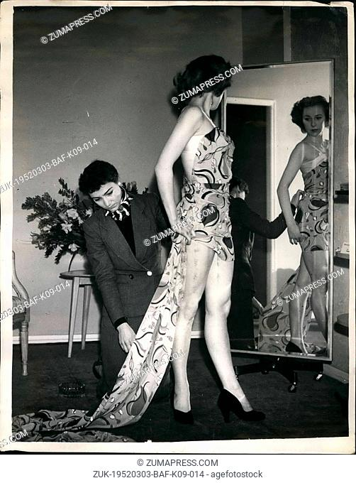 Mar. 03, 1952 - Windmill girl gets ready for great northern radio and television on show: Rae berry, one of the London Windmill theater girls - at present in...