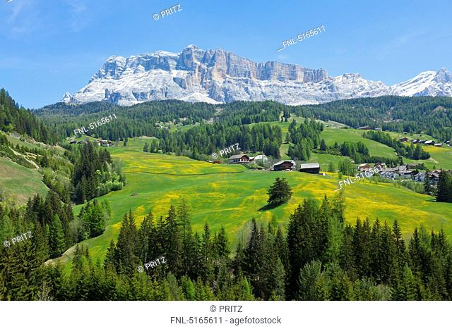 View above Alta Badia to the Fanes group with Heiligkreuzkofel, Dolomites, Italy