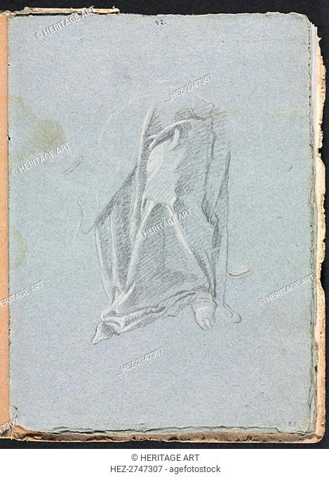 Verona Sketchbook: Drapery with foot (page 83), 1760. Creator: Francesco Lorenzi (Italian, 1723-1787)