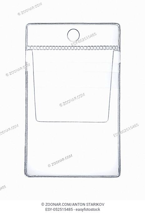 Front view of clear plastic pocket holder isolated on white