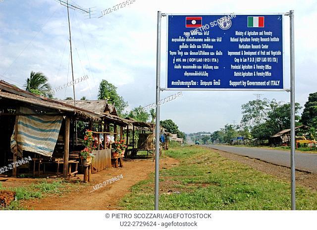 Bolaven Plateau, Laos: board of the Italian cooperation