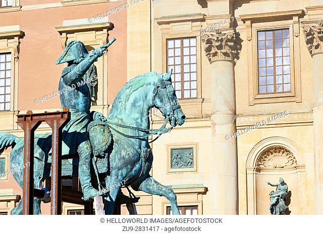 Equestrian statue of King Karl XIV Johan by Bengt Erland Fogelberg, Stockholm, Sweden, Scandinavia