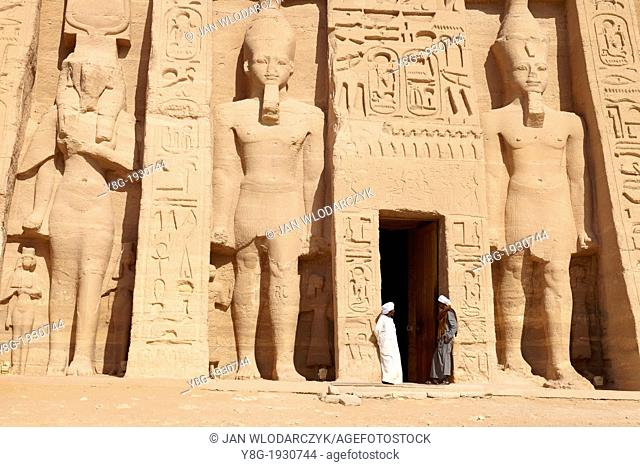 The Temple of Queen Nefertari at Abu Simbel on the shore of Lake Nasser, Egypt, Unesco