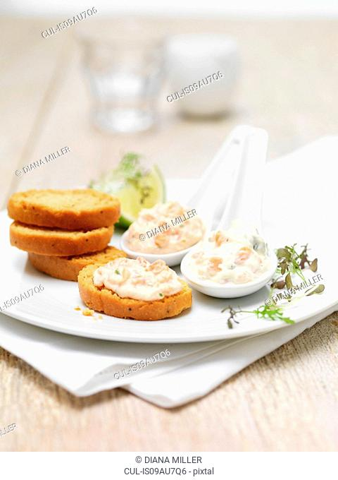 Scottish lochmuir salmon pate and tartare dipping platter with toasted bread crackers
