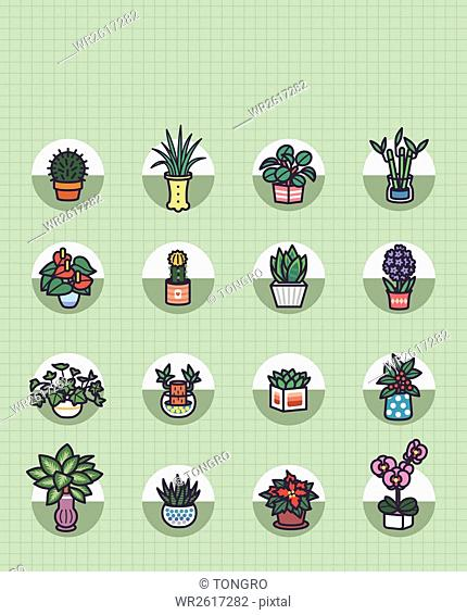 Various icons of plants