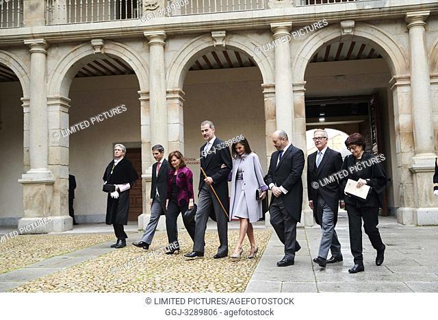 King Felipe VI of Spain, Queen Letizia of Spain attends 'Cervantes Award' to Ida Vitale at Alcala de Henares University on April 23, 2019 in Alcala de Henares
